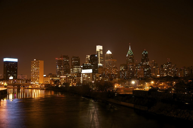 Here we have the city of brotherly love, Philadelphia, captured at night, when it is illuminated by city life.
