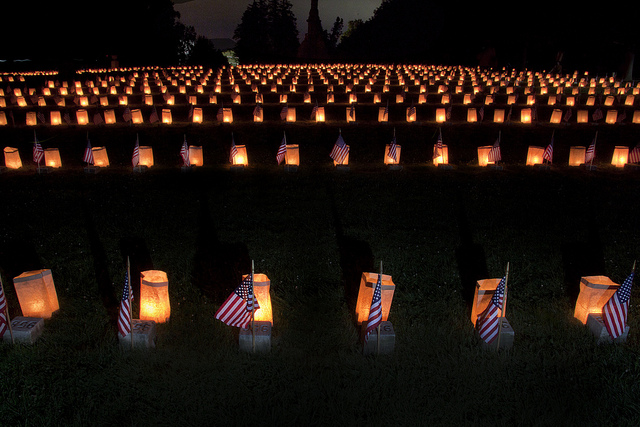 Gettysburg National Military Park honors the soldiers who fought in the Battle of Gettysburg during the Civil War. The expanse of candles lit in memory will send chills down your spine.