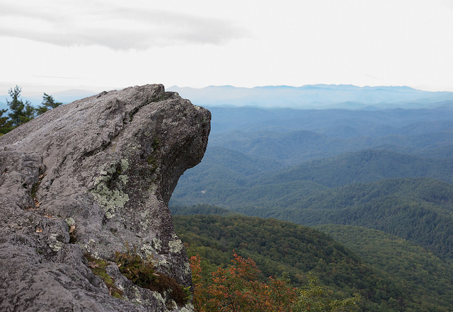 2) Standing at the edge of Blowing Rock.
