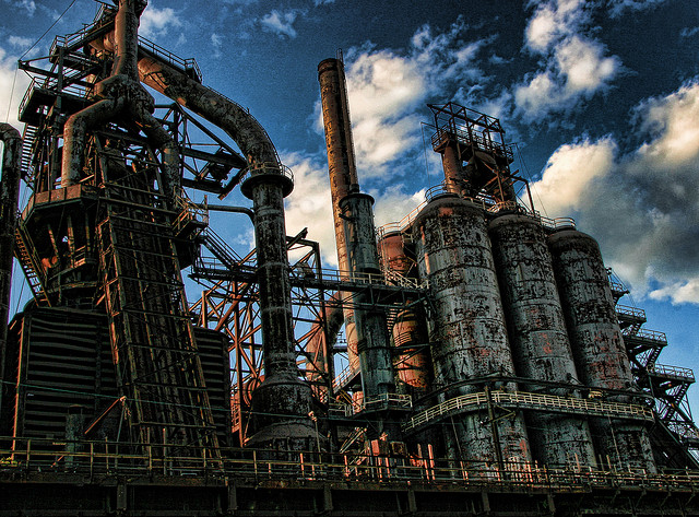 Bethlehem, Pennsylvania was once home to Bethlehem Steel, which produced much of the steel used throughout the country. The company has since shut down, but the abandoned steel stacks remain a landmark of Eastern Pennsylvania.
