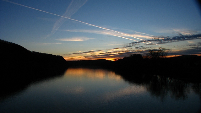 22. The glassy surface of the Susquehanna River in East Bloomsbury doubles the beauty of the setting sun.