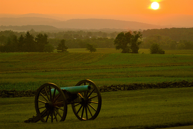 23. The sun sets over the Gettysburg battlefield.