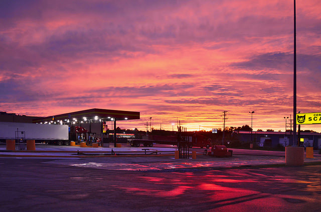 24. This sunset over a Pennsylvania truck stop is a testament to the beauty of Americana.