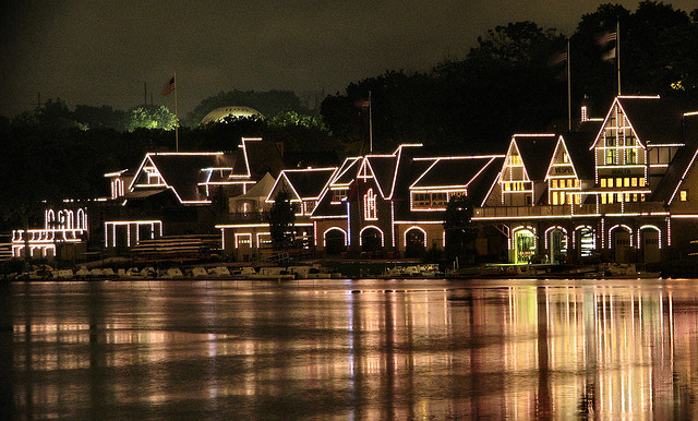 Anyone driving into Philadelphia along the Schulykill River will notice Boathouse Row, especially at night when the mansions are illuminated by strings of white lights.  The Boathouses, fifteen in number, are historic landmarks and national meeting places for rowers.