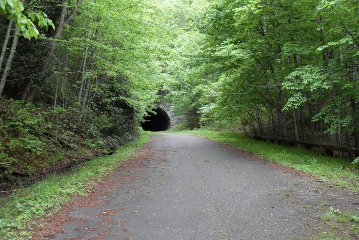 24. ' The Road to Nowhere' starts in Bryson City and leads to a tunnel deep within the Smoky Mountains. Although this road to nowhere has much speculation and dead ends past the tunnel, it gives you breathtaking views of Fontana Lake and the Great Smoky Mountains.
