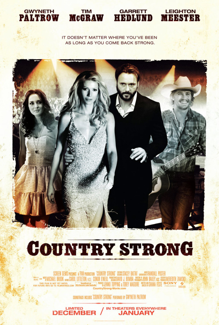 """""""Country Strong,"""" a story of the rise and fall of country music fame was filmed in and around Nashville, Tennessee."""