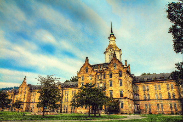 This is quite the captivating photo of the front of the Trans-Allegheny Lunatic Asylum.