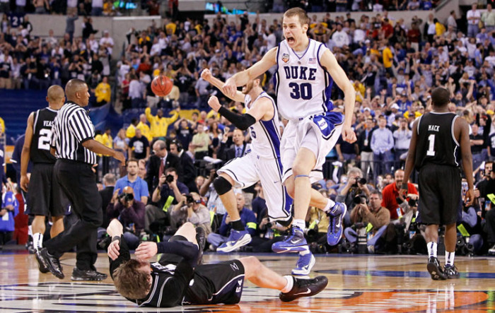 9. In 1991, 1992, 2001, and 2010 when Duke won the NCAA National Championship.