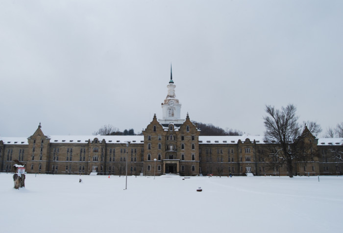 Look at how eerily beautiful this asylum really is. The blanket of snow covering it is just amazing.
