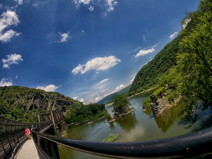 15) The Appalachian Trail, entering West Virginia at Harpers Ferry by this footbridge.