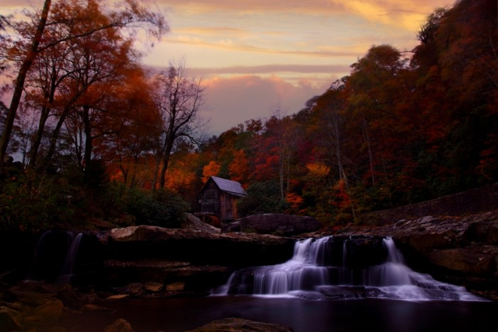 7) The Glade Creek Grist Mill in Babcock State Park  in Clifftop, WV at sunset.