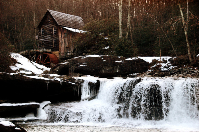 7) Babcock Mill Creek Falls, located in Clifftop, WV.