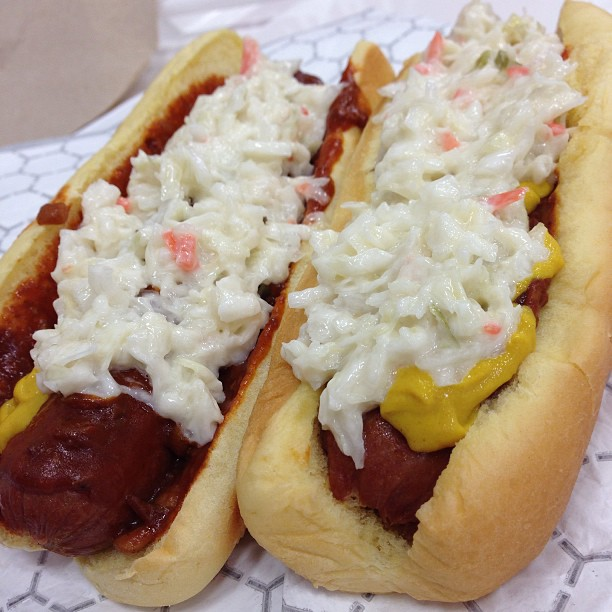 2) A true West Virginia hot dog! Our dogs here in WV typically come topped with mustard, chopped onions, chili, and coleslaw. Yum!