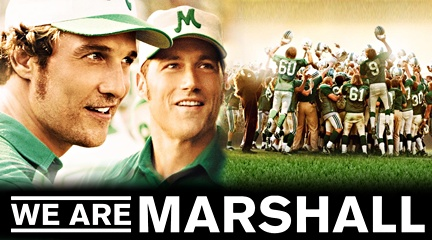 3) We Are Marshall is a wonderful historical film that portrays the life after the 1970 plane crash that killed 37 football players that were on the Marshall University football team, along with five coaches, two trainers, the athletic director, 25 boosters, and a crew of five.