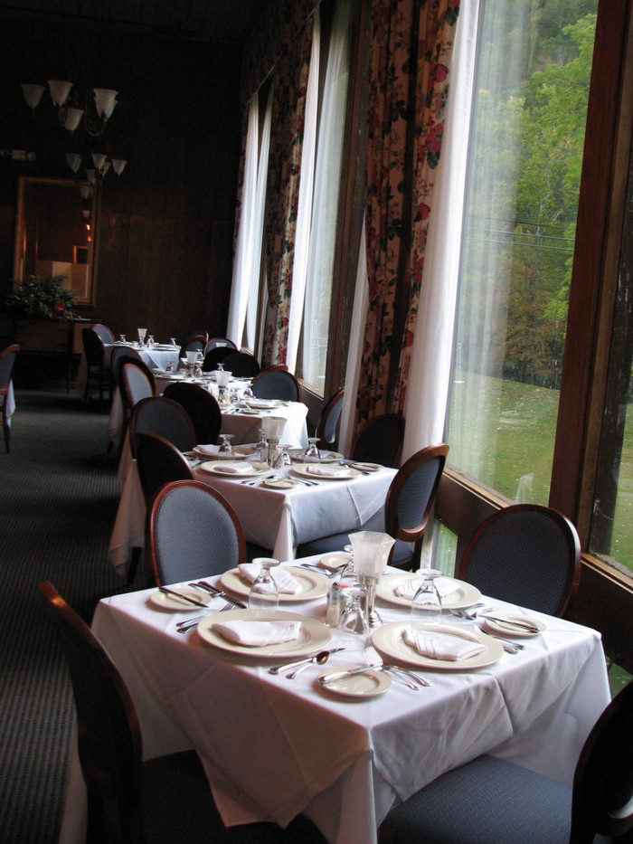 14) Mountain Creek Dining Room, located in Pipestem State Park.