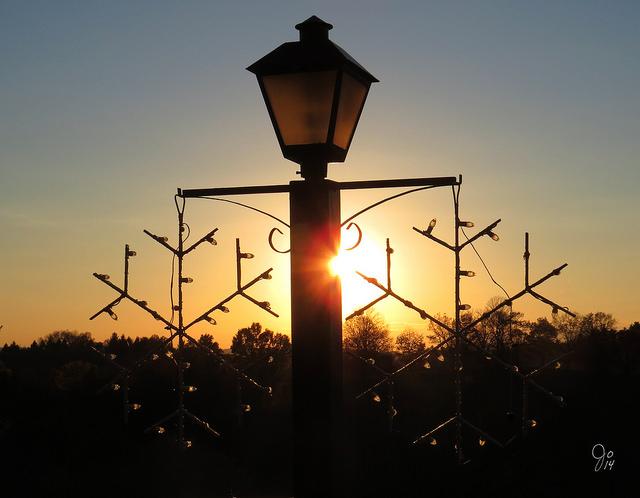 6) The sunset seen through Olgebay Resort's winter lights.