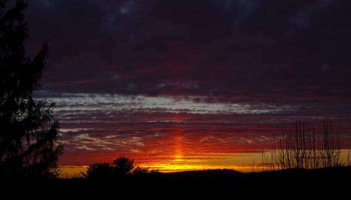 4) This amazing photo of a sun pillar sunset was taken in Princeton, WV.
