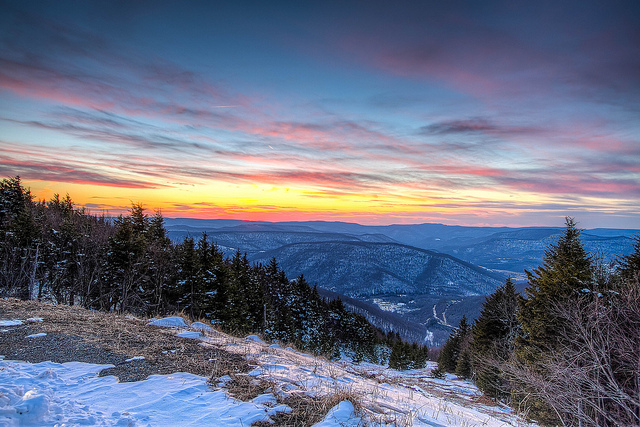 3) This sunset photo was taken on top of one of the skiing slopes at Snowshoe Mountain Ski Resort, located in Pocahontas County, WV.