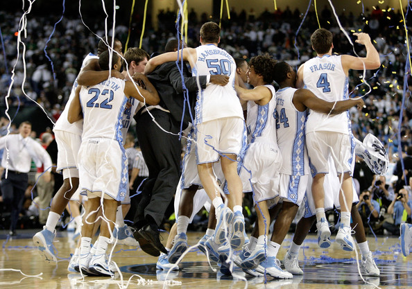 15. In 1957, 1982, 1993, 2005 and 2009 when the Tarheels won the NCAA championship.