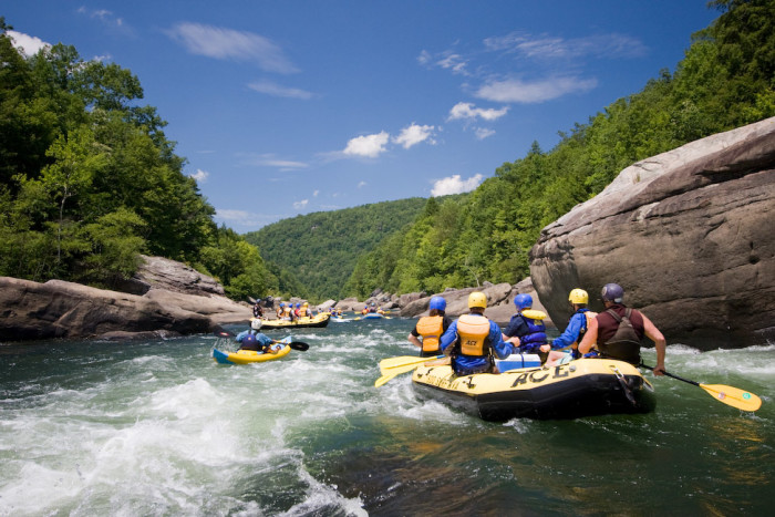 The Upper Gauley River is best known for photos like this one, where people are white-water rafting. This river is able to ride down 95% of the year.