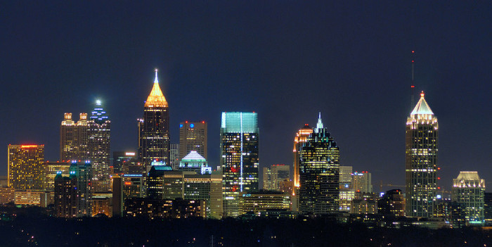 The Atlanta skyline features one of the tallest buildings in Atlanta, the Bank of America Tower.