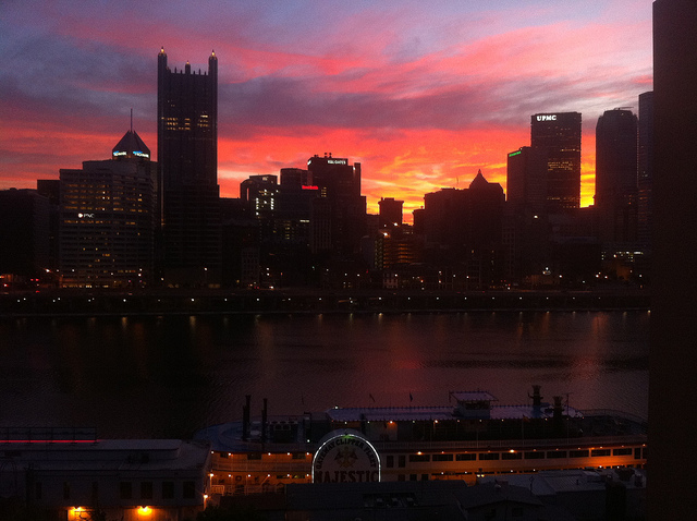 13. The sun rises behind the Pittsburgh skyline. This is one we'd get framed.