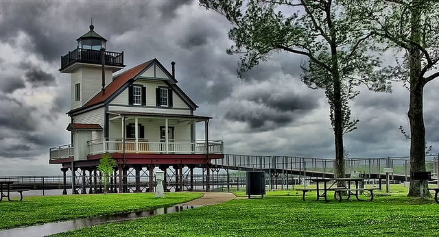 2. Head inland and stop by the quaint and charming Roanoke River Lighthouse in Edenton