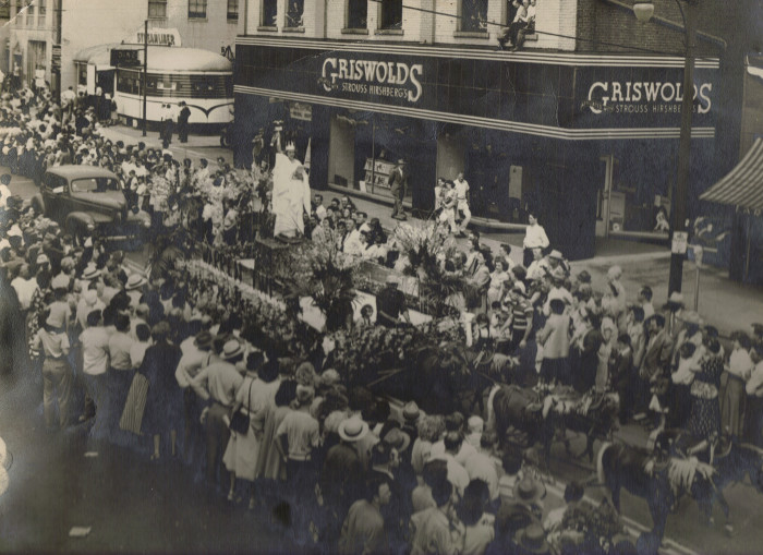 4) Circa 1940s: (Warren) A view of a parade on East Market St. from the second floor of what is now the Horseshoe Bar.