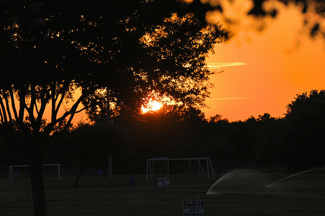 11) A long day of soccer comes to a close over Eldridge Park as the sun starts its descent below the horizon.