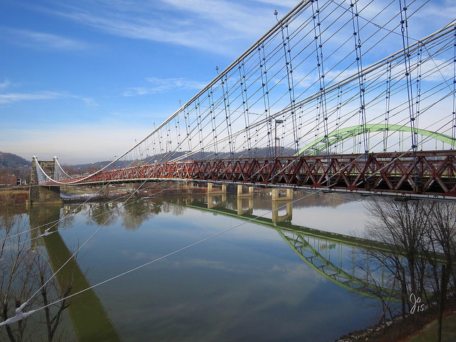 7) The Wheeling Suspension Bridge is located in the Wheeling Island Historic District in WV.