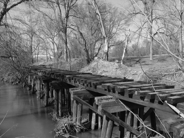 6. There is something so forlorn about old railroads that are now defunct and giving away under the stress of time. This was once known as the Swamp Rabbit Railroad, Greenville, SC.