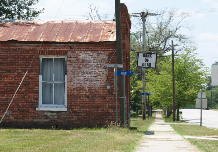7. I used to pass this building every time I went into the town of Olar. My mother would tell me how it used to look in the town's heyday. Unfortunately, that heyday is no more and many buildings have succumbed to time. This is the old Bank of Olar in Olar, SC.