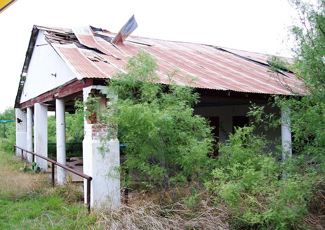 7) Only a few dozen residents remain in the ghost town of  Catarina, but the Diamond H Citrus Storefront still stands despite the encroaching vegetation.