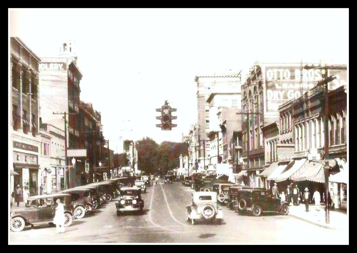 1) Circa 1920s: Putnam Street in downtown Marietta, where diagonal parking was incorporated until the late 1950s.
