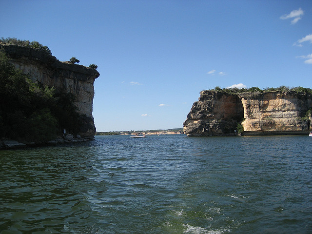 9) Possum Kingdom Lake in Palo Pinto County, where you can swim, boat, fish, and even scuba dive.