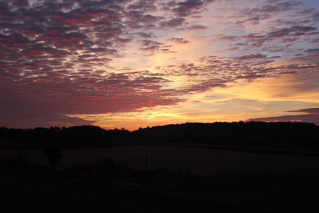 4. The silhouette of Berks County mountains stands in start contrast to the rising sun.