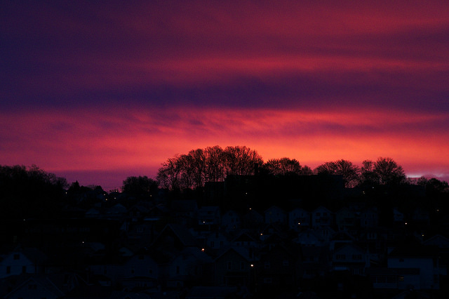 5. The morning sun turns the sky an angry magenta.