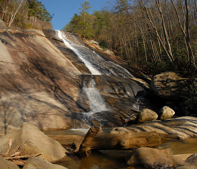 """9. Or take a quick hike to Stone Mountain Falls for a more """"private"""" first kiss."""