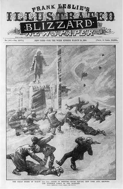 7. The Great Blizzard of 1888, March 1888