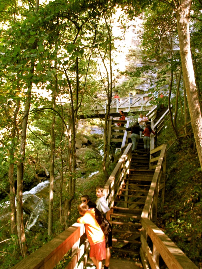 Visitors walking up the side of Amicalola Falls
