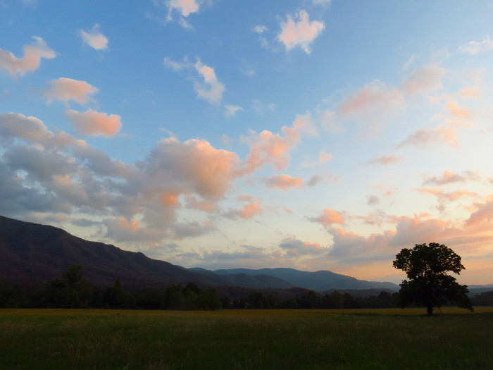 19)  Nestled in the Great Smoky Mountains, Cades Cove is where you can spend a weekend away from the world and indulge in the most beautiful end to the day you've ever seen. Those pink clouds. We can't even.