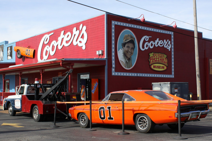 "15)  Cooter's Place is, well, an actual place. Open seven days a week and lacking an admission fee, you have the chance to see original costumes and props from the popular, ""Dukes of Hazzard."""