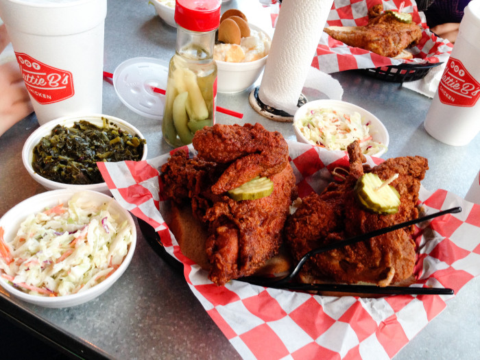 Hattie B's has two locations in the heart of Nashville, and is where you will find some great options regarding mild, hot and HOT chicken.