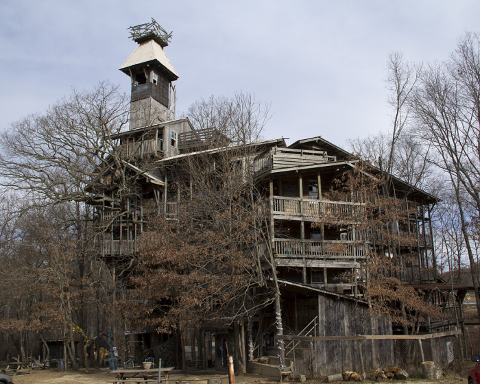 11)  Crossville, Tennessee has the title for one of the largest treehouses in the nation. Although it is currently closed, the 1993 structure contains eighty rooms plus a chapel and bell tower.