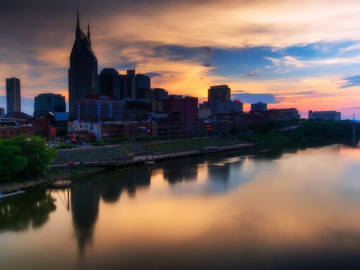 9) The capital city takes the cake with a painted sky and skyline that'll make you gasp.