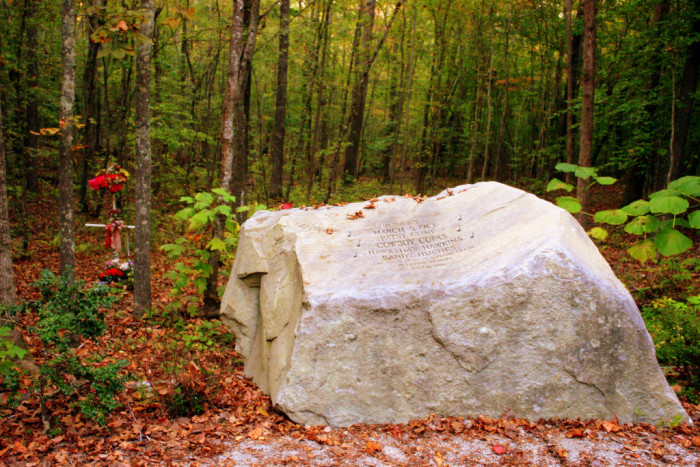 10) Patsy Cline wasn't just beloved during her illustrious, though short, career. No, deep in the woods of Tennessee there is a small tribute to the singer. Strange and secluded, Cline is memorialized by an engraved stone and visiting area. Keep in mind, she  isn't buried here - she's been laid to rest in her home state of Virginia.