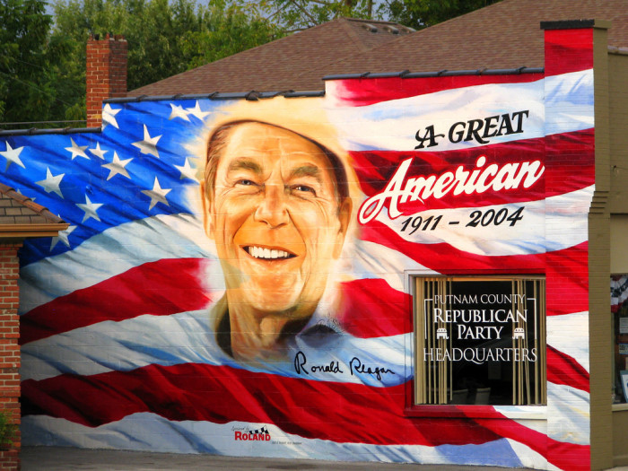 5) This massive mural of former president Ronald Reagan is painted on the Republican Party Headquarters in Putnam County. We are honestly wondering what he would think of it.