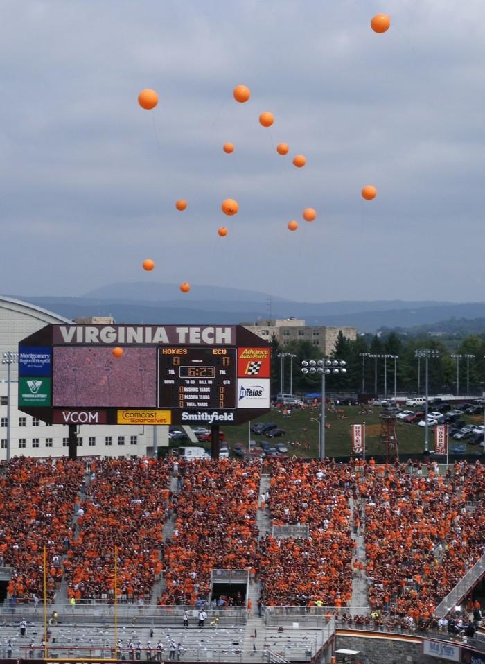Hokies Releasing 32 balloons before the 2007 football season opener, September 1, 2007