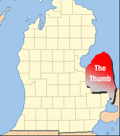 2) When they refer to the thumb as a place and not an appendage.