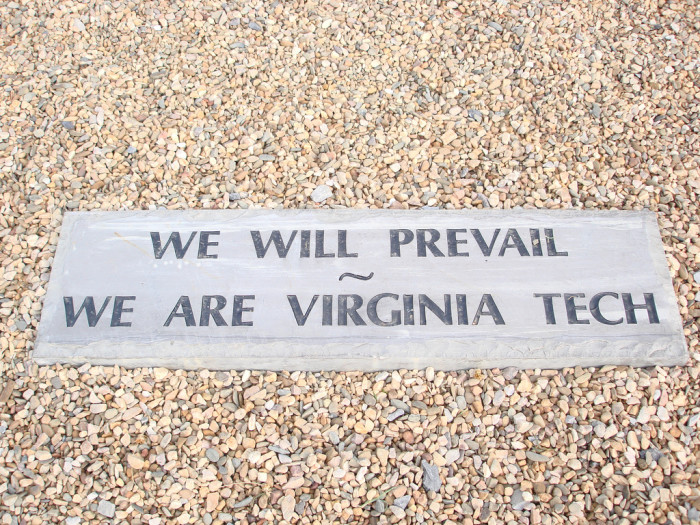 We Will Prevail - Stone at the April 16 Memorial, Virginia Tech's Burruss Hall